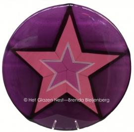 "sculptuur ""roze ster in paars"""