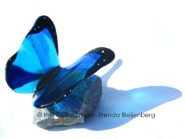 Speelse blauwe vlinder met donkere randen