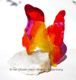 Abstract dier als glas sculptuur