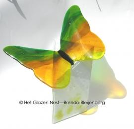 """Urn """"grote groen en gele vlinder"""""""
