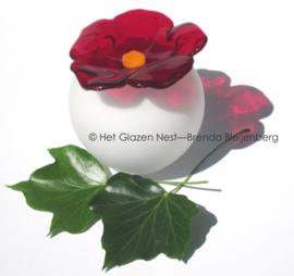 Bol urn met rode bloem