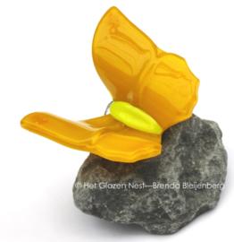 Vlinder op steen in rustig geel