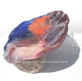 Grillig glas in heide kleuren