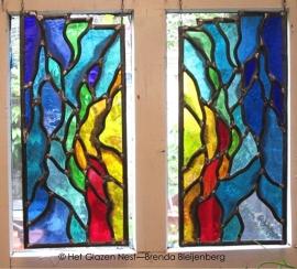 "Glas in lood raamhanger ""abstract in 2 delen"""