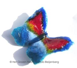 Blauw en rood vlindertje op steentje