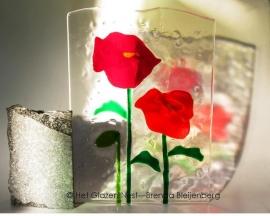 """glas sculptuur """"twee papavers"""""""