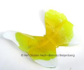 Grote gele vlinder met witte accenten