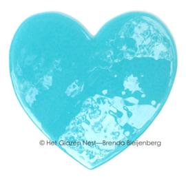 Hart in zee blauw glas