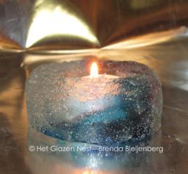 Waxinelichtje van glas in pastel kleuren