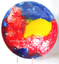 """fusing glas schaal """"blauw en rood"""""""