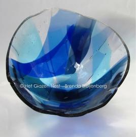 blauw gedenk glas