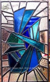 """Glas in lood raamhanger """"Ijs in blauw"""""""