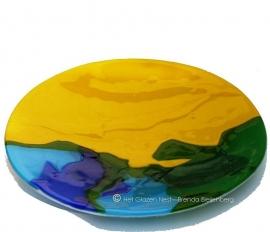 """fusing glas schaal """"geel en blauw"""""""