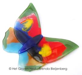 Bonte glas vlinder met groene randen
