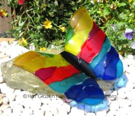 vlinder in regenboog kleuren op glassteen