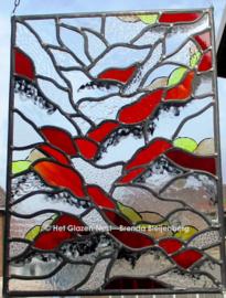 """Glas in lood raam """"rood waaiend"""""""