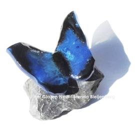 Blauwe vlinder met zwarte randen