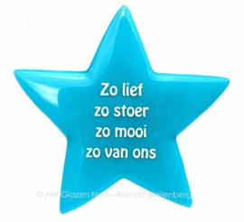 Glazen ster met tekst