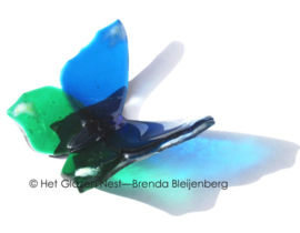 Blauw en groene vlinder in doorzichtig glas