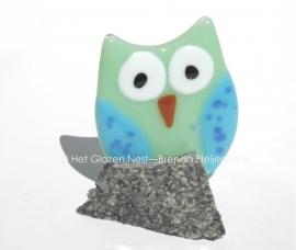 Lichtgroen uiltje met blauwe vleugels, tegen een brokje graniet