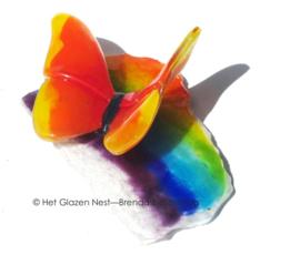 oranje vlinder op regenboog glas