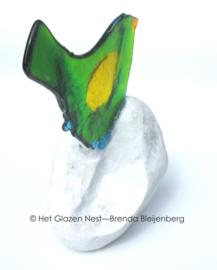 Groen vogeltje van glas