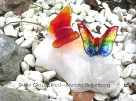 2 kleine vlinders op witte kristal