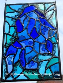 """Glas in lood raam """"blauw ijs"""""""
