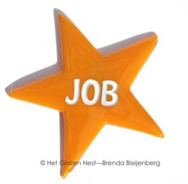 """Oranje ster met de naam """"Job"""""""