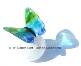 Groen en blauwe vlinder op witte bol-urn