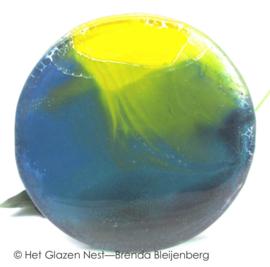 glazen rondje in blauw, geel en groen