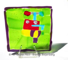 Kindertekening vertaald in glas