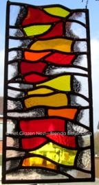 """Glas in lood raam """"Boekenstapel in geel"""""""