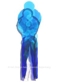 """blauw sculptuur """"ouder en kind"""""""
