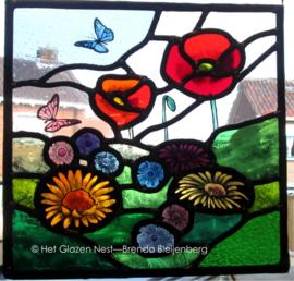 """Glas in lood raam """"tuin bloemen"""""""