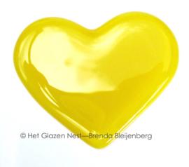 klein geel hart in glaskunst