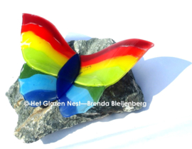 Grote regenboog vlinder op ruwe steen