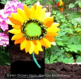 zonnebloem als glazen ornament