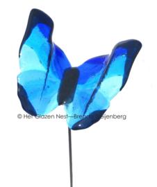Grote vliegende vlinder op RVS en steen