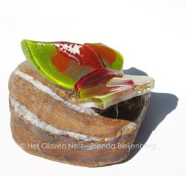 kleine groen en okergele vlinder op jaspis steen