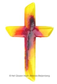Glazen kruis in abstract geel en oranje