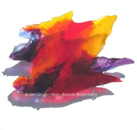 Wandobject in speels oranje en paars