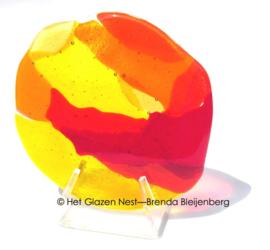 """sculptuur  """"kleine zon"""" in transparant glas"""