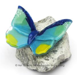 Speelse kleine vlinder op steentje
