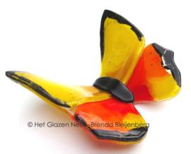 glaskunst vlinder in oranje en geel