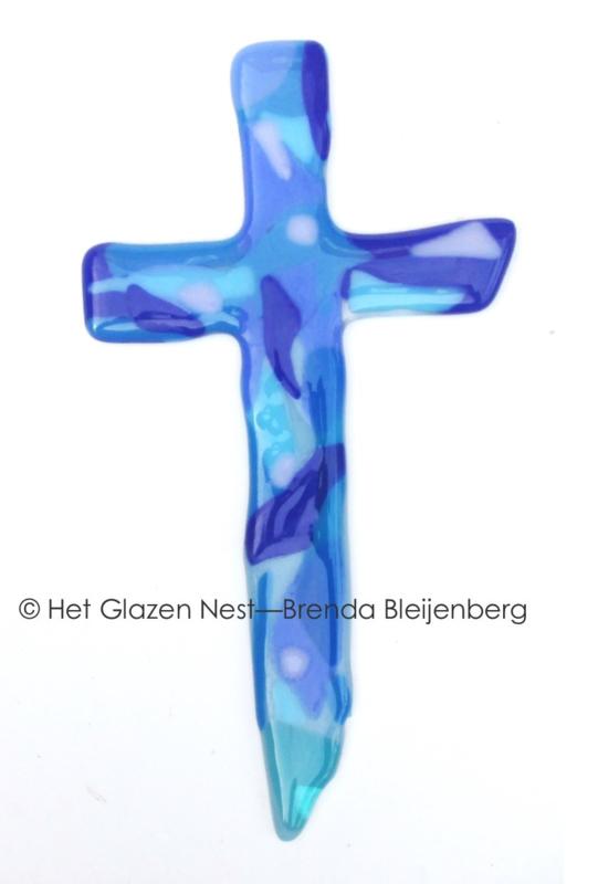 Abstract blauwe kleuren in kruis