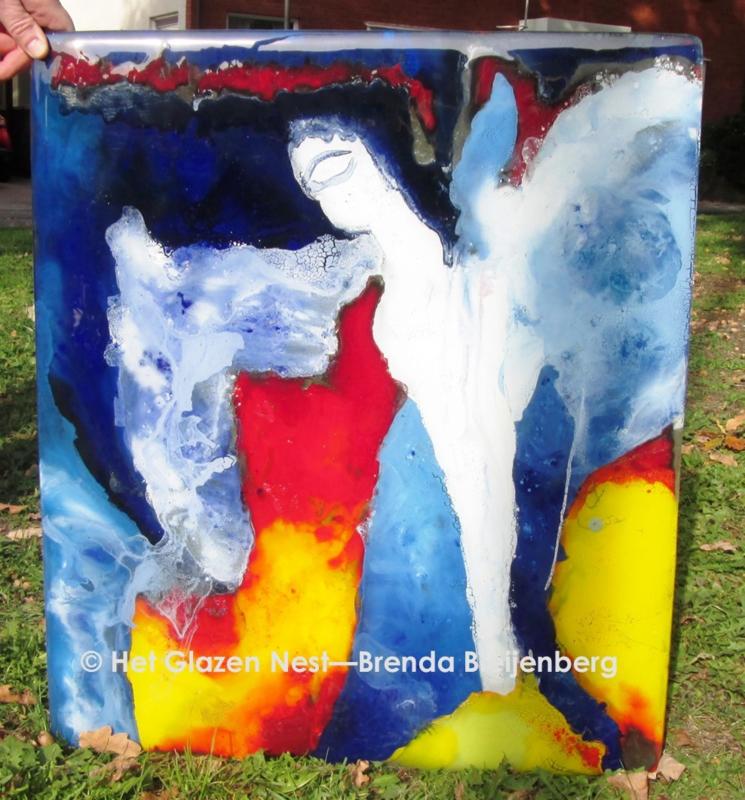 Glasplaat met abstracte engel