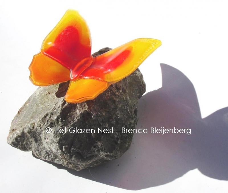 Vlinder in oranje en geel op een brok basalt