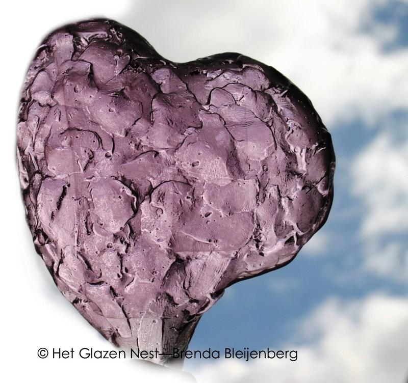 glazen hart in roze kleur