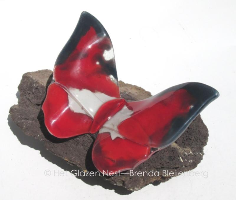 rode vlinder met zwart en witte accenten op lavas
